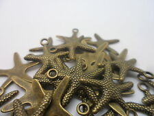 50 Starfish~Antique Bronze charm,bead~scrapbooking,card & jewellery making BULK