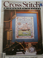 February 1989 Cross Stitch  & Country Crafts Back Issue Magazine Sampler Quail