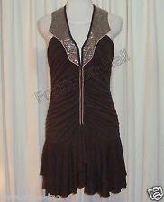 "SASS&BIDE WALNUT BROWN RUCHED MINI DRESS W'BEADED COLLARS AUS 10 ""SENSE OF DUTY"""
