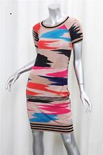 MISSONI Womens Tan Multi Wool Knit Short-Sleeve Knee-Length Sweater Dress 40/4