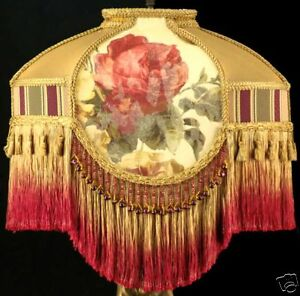 VICTORIAN LAMP SHADE CROSCILL ROSES FABRIC WITH GOLD SILK, BURGUNDY BEADS FRINGE