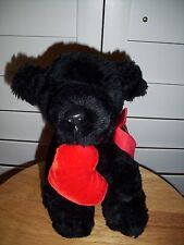 Russ & Berrie plush black Dog Shadow with heart