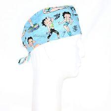 Sports Women Betty Boop on Sky Blue Theme Scrub Hat