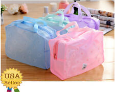 Portable Travel PVC Floral Clear Waterproof Toiletry Cosmetic Bag Wash bag Pouch