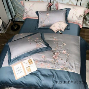 Chinoiserie Style Flowers Embroidered Gray Blue Duvet Cover Bedding Set Sheet