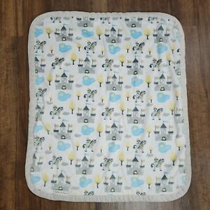 Blankets & and Beyond Blue Gray White Castle Horse Pony Knight Pond Duck Tree