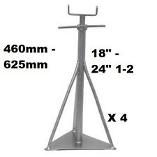 "Static Caravan Axle Stands X4, 460mm - 625mm or 18"" - 24"" 1/2 Siting Support"