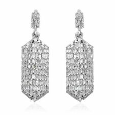 Plata esterlina 925 Blanco Diamante cuelgan pendientes CT 1 Color I3 Clarity