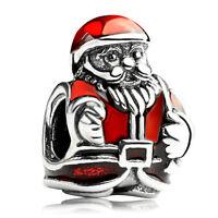 S925 sterling silver Red Enamel Santa Claus Christmas charm Bead fit bracelet