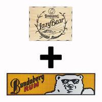 Bundaberg Bundy Rum Lazy Bear Combo Pack - Timber Sign + Rubber Bar Mat Runne...