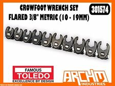 "TOLEDO 301574 - CROWFOOT WRENCH SET FLARED 3/8"" - METRIC (10 - 19MM) 10 PC"