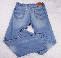 Levis 505 Mens Jeans Size 34x32 Stretch Straight Leg Regular Fit Blue Denim
