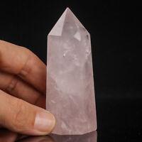116g 82mm Natural Pink Rose Quartz Crystal Point/Tower Healing Obelisk Wand
