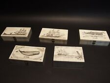 5 Antique Style Folk Art Sail Ship Scrimshaw Etched Bone & Wood Trinket Box set