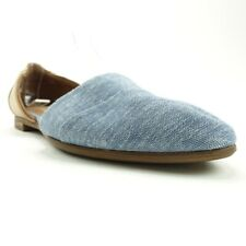 Toms Womens Jutti DOrsay Flat Shoes Blue Brown Chambray Slip Ons 7 New