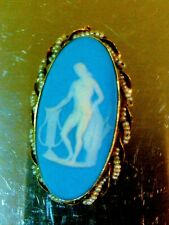 10K GOLD WEDGWOOD BLUE JASPERWARE CAMEO SEED PEARLS BROOCH PIN, PENDANT NECKLACE