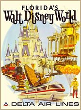 Orlando Walt Disney World Delta Airlines Vintage Travel Advertisement Poster