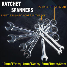 7Pcs 8-19mm Fixed Head Ratchet Spanners Metric Wrench Set CR-V STEEL 72 Geared