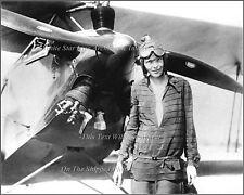 Photo: Racy Amelia Earhart Posing In Front Of A Model 9 Merrill Biplane In 1928