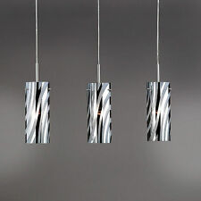 Wofi lampes suspendues collage 3 feuilles Nickel Verre Cylindre Chrome Blanc