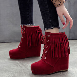 Combat Ankle Boots Women Tassel Platform Lace Up Wedge Heel Booties US 6 Red
