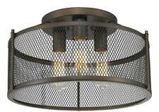 "Oil Bronze Semi-Flush 3 Lights No Glass 8.7"" H Industrial Screen Fixture New!"