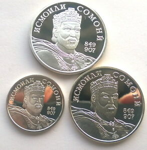 Tajikistan 2006 Independence Set of 3 Silver Coin Medals,Proof