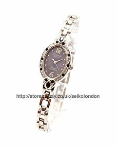 Omax Ladies Diamonte Blue Dial Watch, Silver Finish, Seiko Movt. RRP £49.99