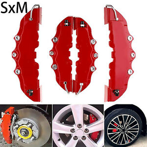4x 3D Red Car Auto Disc Brake Caliper Covers Front & Rear Wheels Accessories Kit