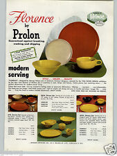 1955 PAPER AD Prolon Florence Melmac Dinnerware Plates Solid Colors