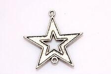 Free Shipping 5Pcs Tibetan Silver Charm Stars Finding Connectors 36*30mm