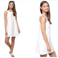 Lilly Pulitzer Jacqueline Resort A Line White Gold Shift Dress Small