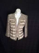 White House Black Market 4 Metallic Tweed Layered Front Blazer Jacket Grey NWT