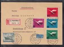 C 02 ) Germany + Berlin special 2 state Registered letter 1955, Lufthansa, Ship
