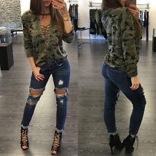 US stock Women Long Sleeve Shirt Choker V Neck Blouse Camouflage Tops T Shirt