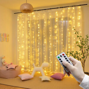 Remote LED String Lights Curtain to Christmas Party Fr Window Home Outdoor Decor