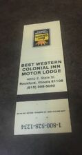 Vintage Matchbook  Matchcover Best Western Colonial Inn Motor Lodge Rockford IL