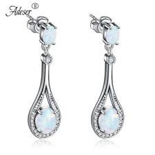 Elegant White Fire Opal Oval Cut Luxury 925 Silver Plated Drop Dangle Earrings