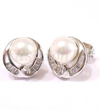 fashion1uk Women Shell Pearl Stud Earrings White Gold Plated CZ Cubic Zirconia