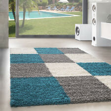 Design Tapis à Poils Longs Salon Shaggy Carreaux Motif Turquoise Gris