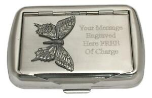 Butterfly L Tobacco Tin Stainless Steel Personalised Smokers Gift 51