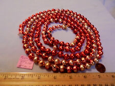 "Christmas Garland Mercury Glass, Red-Gold, 87"" Long 7/16"" Beads #Pl54 Vintage"