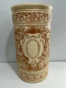 Antique Arts & Crafts Weller Pottery Clinton Ivory Umbrella Stand