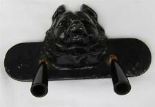 Dog Wolf Bear Face Figure Cast Metal Desk Office Black Two-Pen Holder l