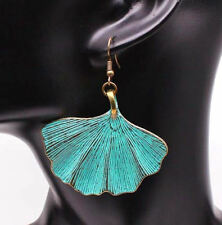 "brass ginkgo leaf charm earrings 2 sided-Big bohemian earrings,2""X1.75 4; patina"