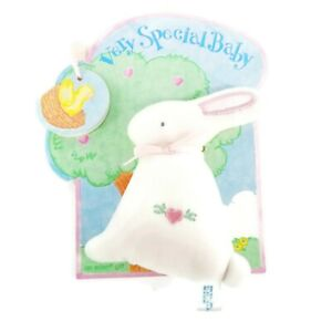 HTF Eden Bunny Plush on Original Tag Soft velour body stuffed Baby Toy NEW tags