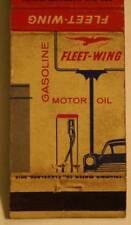 1950-60s Era Richmond,Indiana Fleet-Wing Oil Gas Service Station matchbook-NICE!