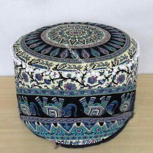 Ottoman Cover Star Mandala Elephant Design Cotton Footstool Pouf Bohemian Indian