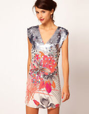 Warehouse SILK Sequin Embellished Flower Print Summer Party Mini Dress Size 6