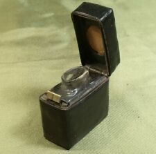 ANTIQUE LEATHER COVERED TRAVELLING INKWELL glass inside, spring lid, c1890